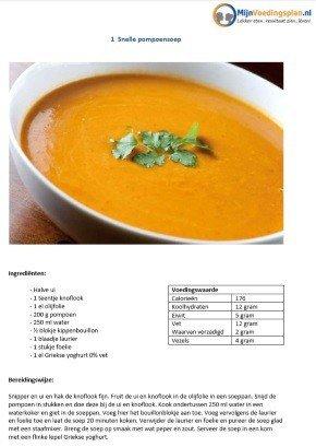 persoonlijk voedingsschema pompoensoep recept