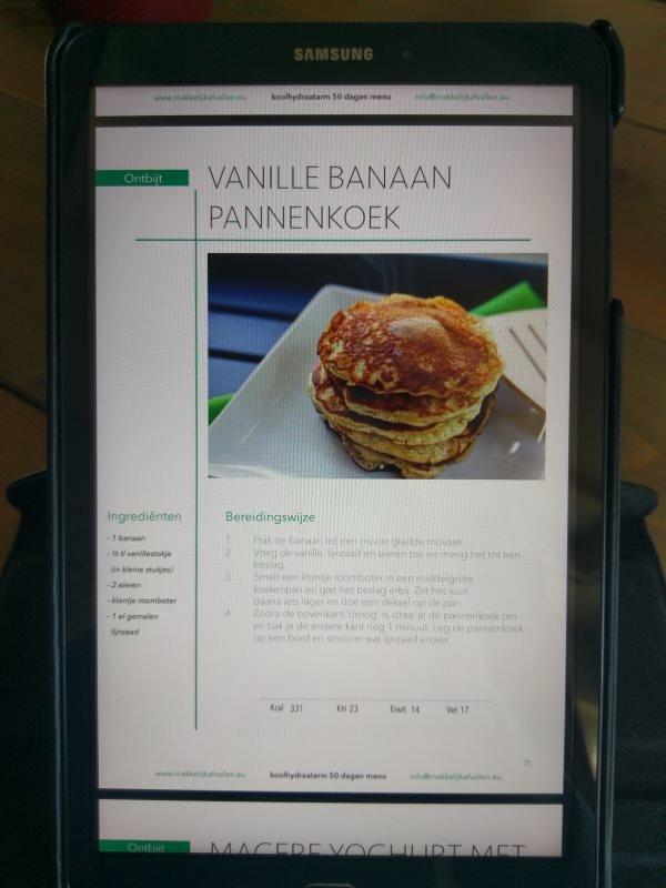 bananen pannenkoeken recept uit het 50 dagen koolhydraatarm programma PDF versie