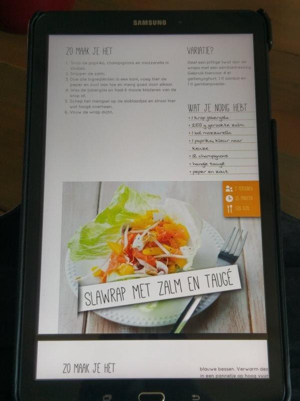 Slawrap met o.a. zalm recept uit het Afslank Receptenbijbel boek