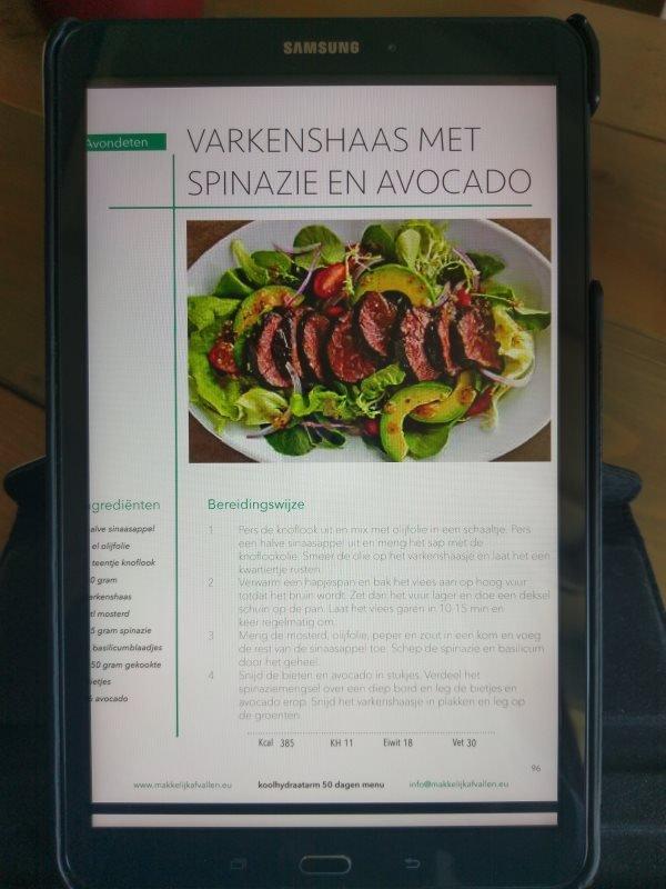 varkenshaas met spinazie recept uit het 50 dagen koolhydraatarm programma PDF versie