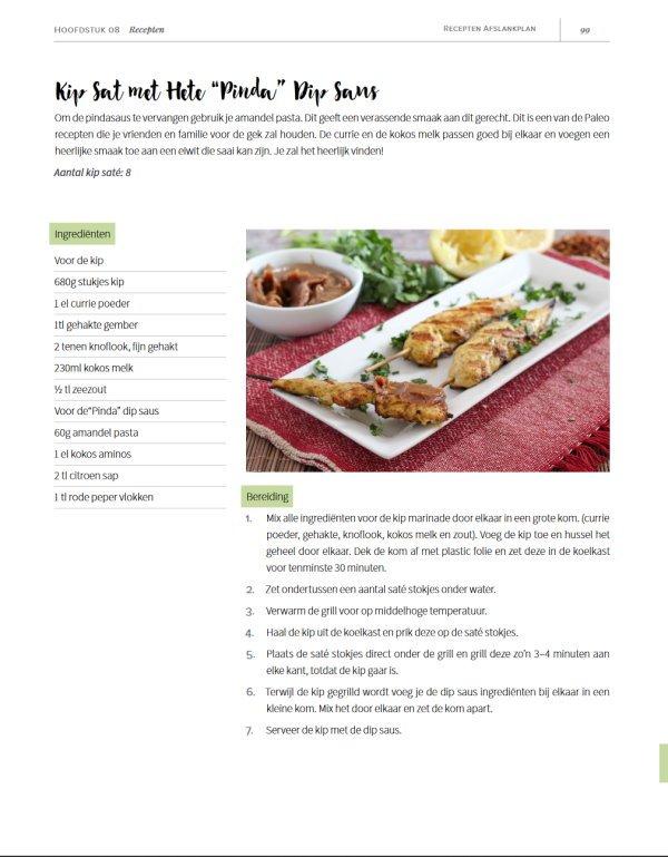 Voorbeeld recept uit de Afslank Receptenplan PDF