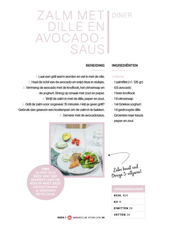 Koolhydraatarm 50 dagen programma voorbeeld recept zalm met dille en avocado saus